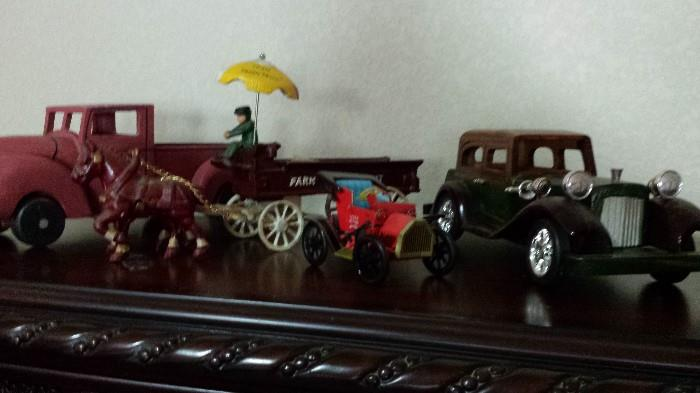 wooden and metal cars; Farm Fresh cast iron wagon