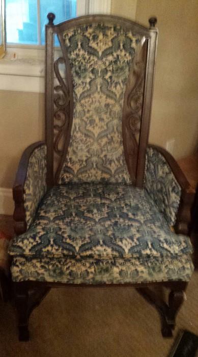 blue / white upholstered chair