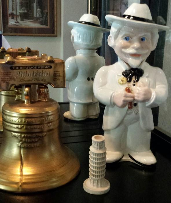 Liberty Bell and Colonel Sanders collectible bottles