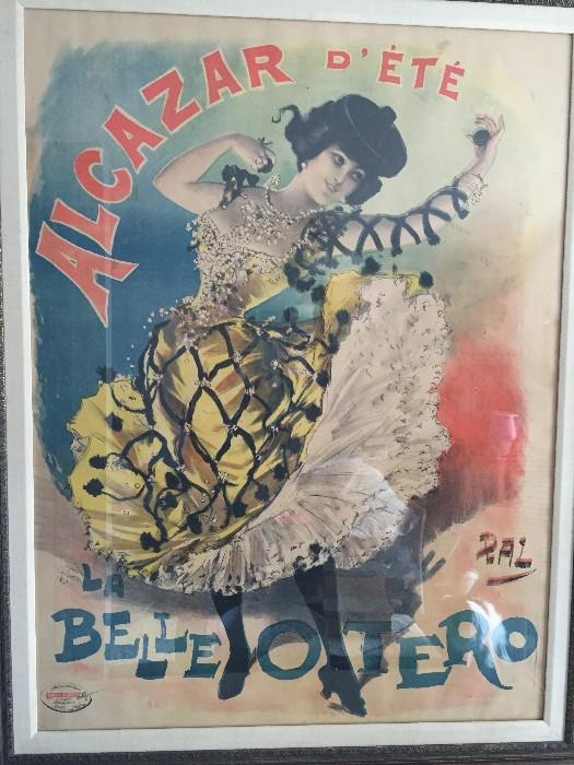 1898 ORIGINAL ALCAZAR D'ETE LA BELLE OTERO ( ORIGINAL DANCE) FRAMED POSTER- SUPER RARE HUGE SIZE (PAL -Jean de Paléologue, 1860-1942) COLLECTORS DREAM