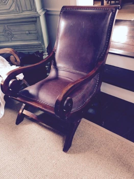 1of 2 Dutch/Indonesian Leather Chairs