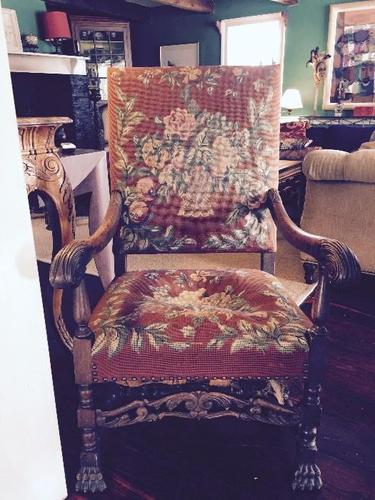 Needlepoint Covered Louis XIV Style Chair