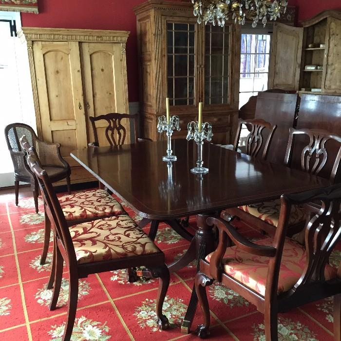 """Baker Dining Room Table (48""""x108"""") & Ten Maitland Smith Dining Room Chairs"""