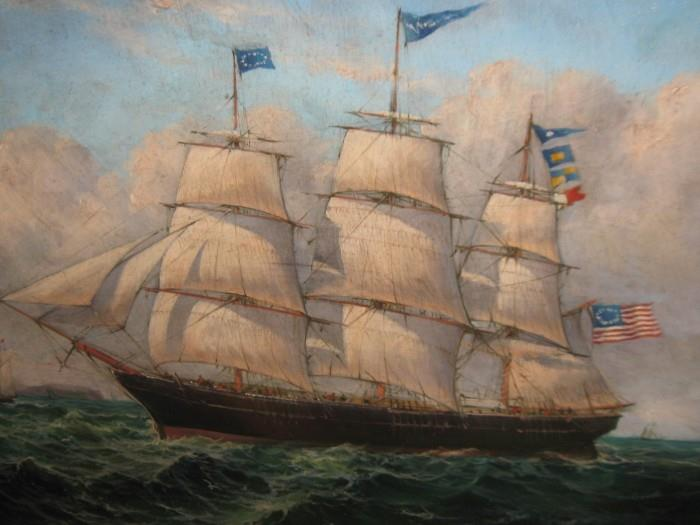 ROBERT SANDERS CLIPPER SHIP                                 (OIL on CANVAS 16 X 20)