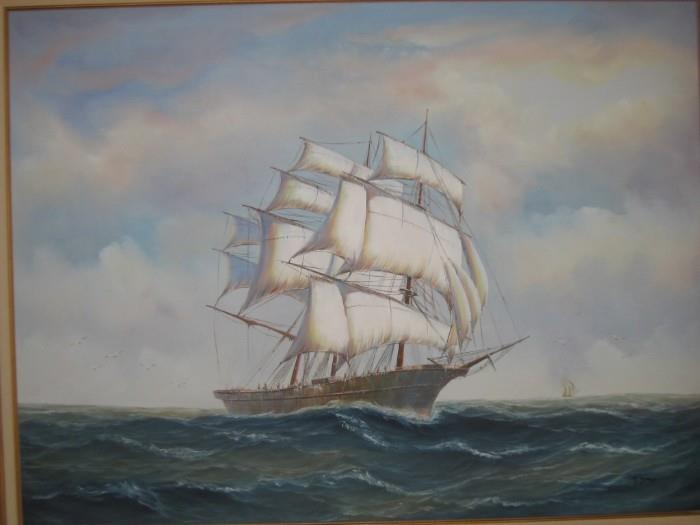 VERY LARGE OIL ON CANVAS T. JONES CLIPPER SHIP PAINTING