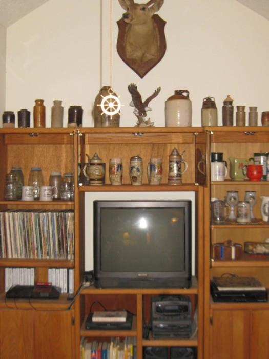 RECORD ALBUMS, STEINS, STONEWARE JUGS