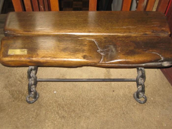 CHAIN LEG BENCH made with wood from the schooner ship J F TRACY 1886 SAND BAY BEACH, MICHIGAN