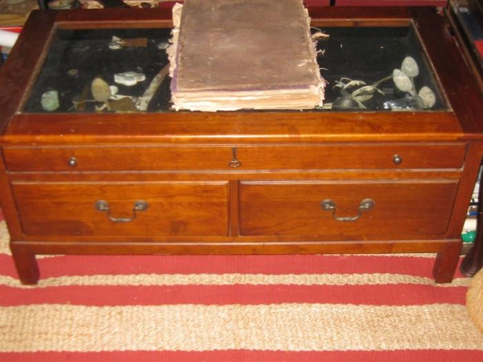 VINTAGE COFFEE TABLE with GLASS TOP & DISPLAY DRAWERS