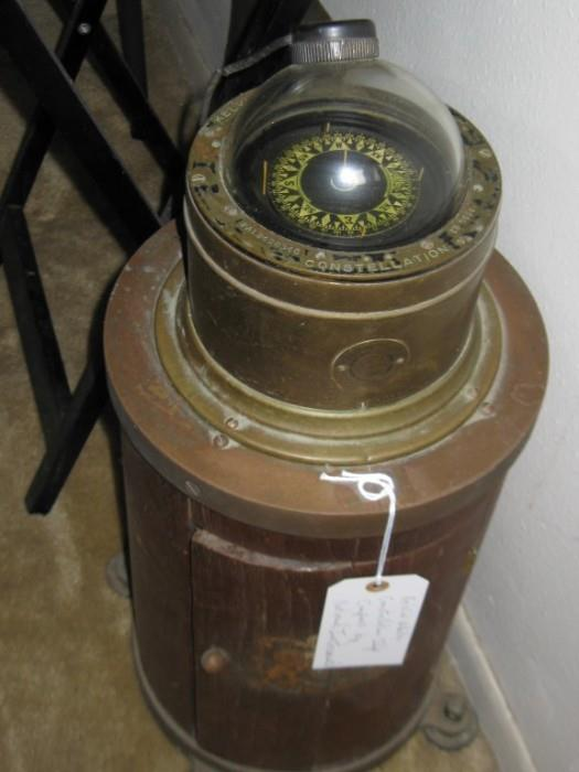 ANTIQUE CONSTELLATION SHIP COMPASS MOUNTED ON BARRELL