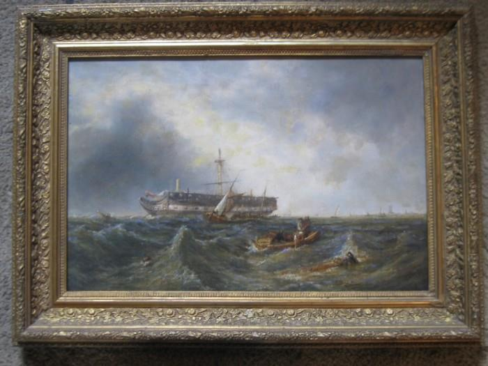 12 x 18 CANVAS SIZE...ANTIQUE EUROPEAN OIL PTG. OF A SHIPWRECK