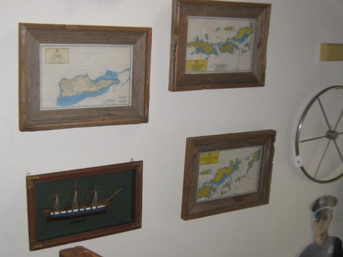 VINTAGE ISLAND MAPS, USS CONSTITUTION SHADOWBOX