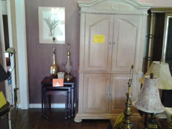 Nesting tables and Armoire