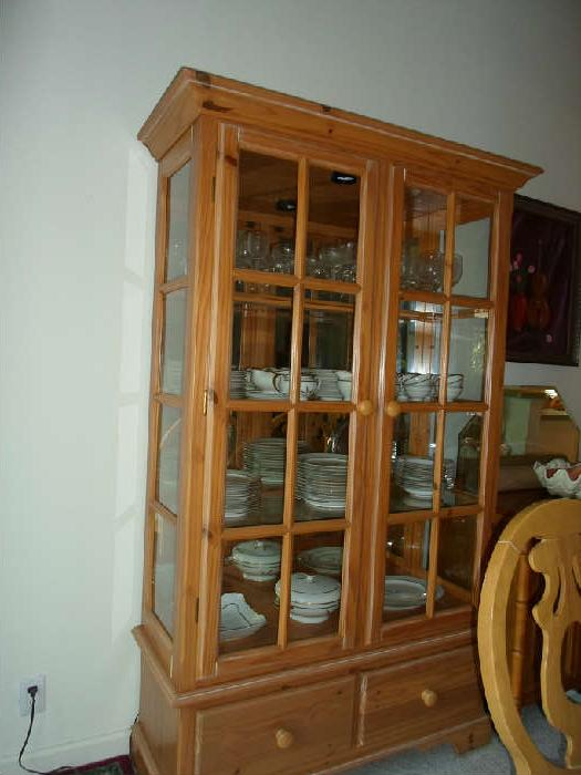 "china hutch w/set of vintage Rosenthal ""wheat"" dishes"