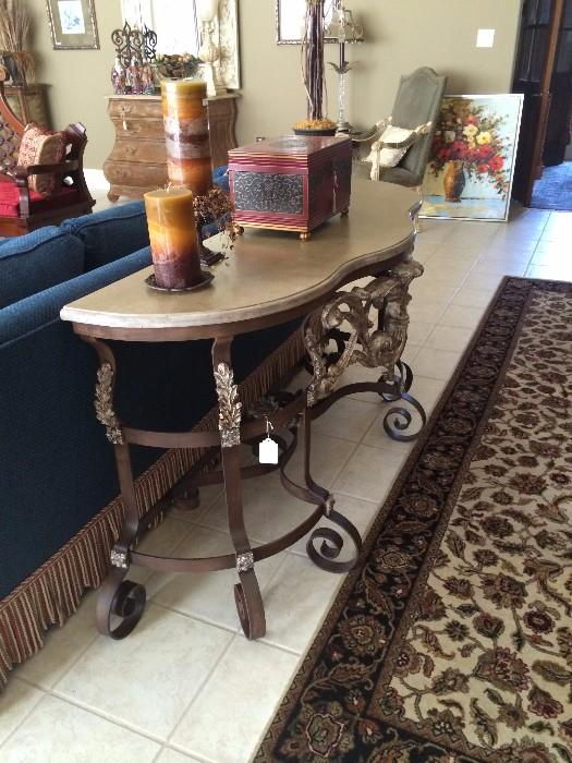 "Sofa/entry table with marble top;  4 ' 2""  x 12 '  runner"
