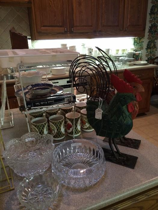Lovely serving bowls; roosters; fruit mugs