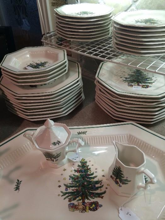 "Many pieces of  Nikko ""Christmastime"" dishes"