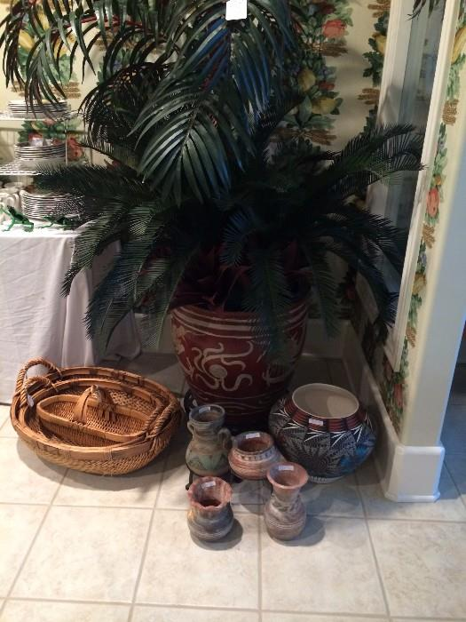 Large artificial plant; baskets; Mexican pottery