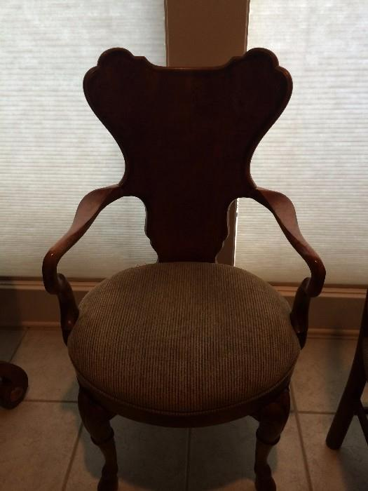 Unique side chair with upholstered seat