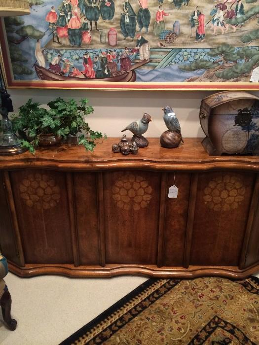 Lovely credenza with inlaid wood;  Asian framed art; great accessorizing lamp, birds, & box