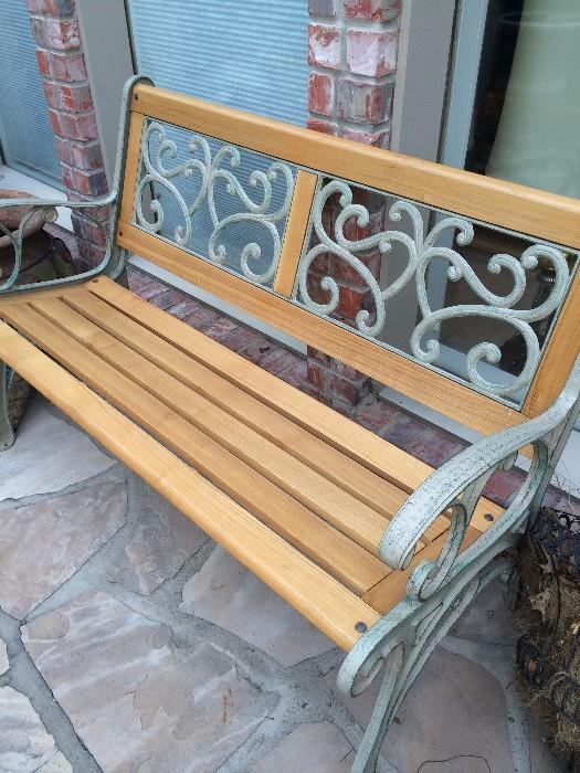 Wood & iron patio/porch bench