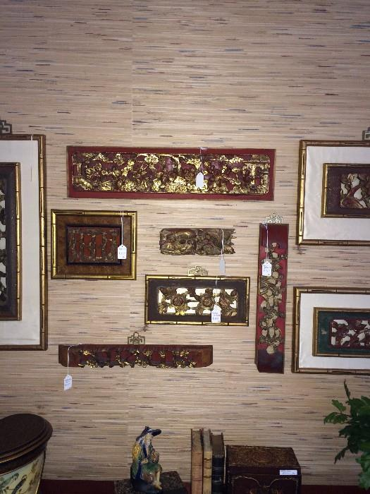 Carved Asian wall displays