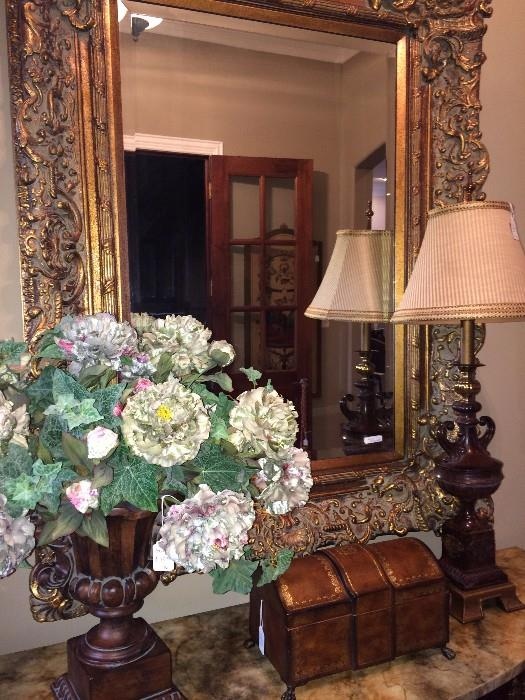 One of several beautiful mirrors, arrangements, decorative boxes, & lamps