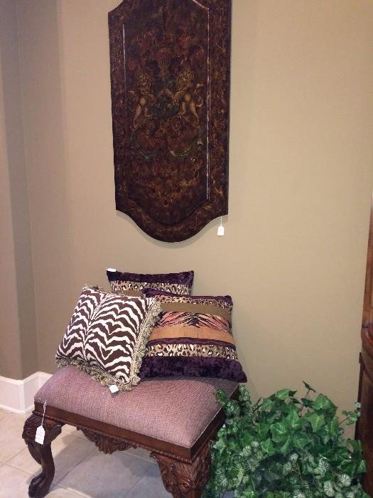 Great pillow selections; vanity bench; wall panel