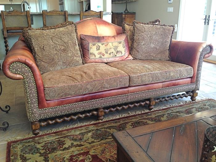 Leather and upholstered Sofa, Love Seat and Chair with Ottoman