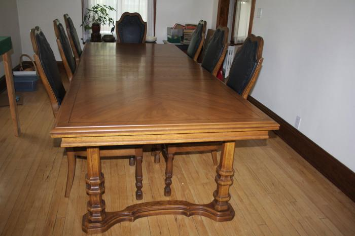 Dining Table #2 with leaves + 2 Arm Chairs & 6 Side Chairs