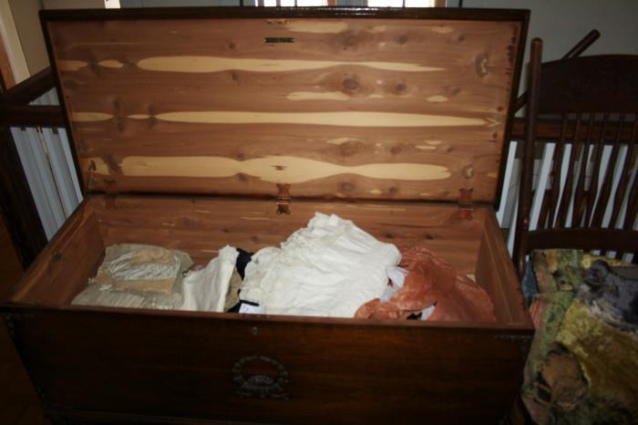 Trunk filled with antique clothing