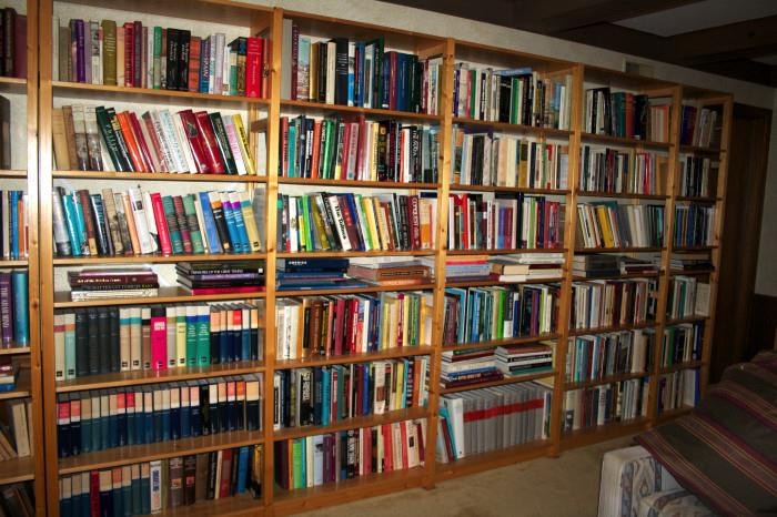 Books in middle floor library