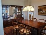 Fabulous Dining Room Set by Henredon, Table, Leaves, Pads, and 8 Chairs, Large, Lighted China Cabinet with Carved Brass Trim.  Excellent Quality