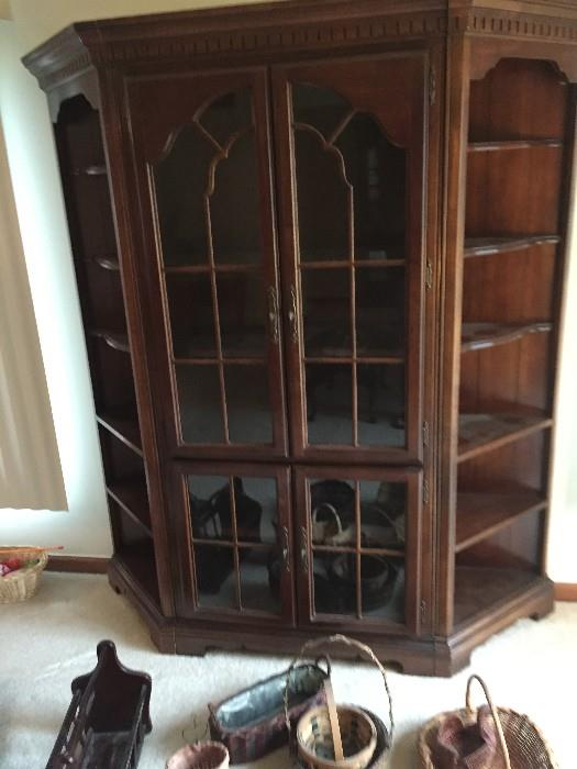 HUGE OPEN SIDE CHERRY GROVE CHINA CABINET BY AMERICAN DREW