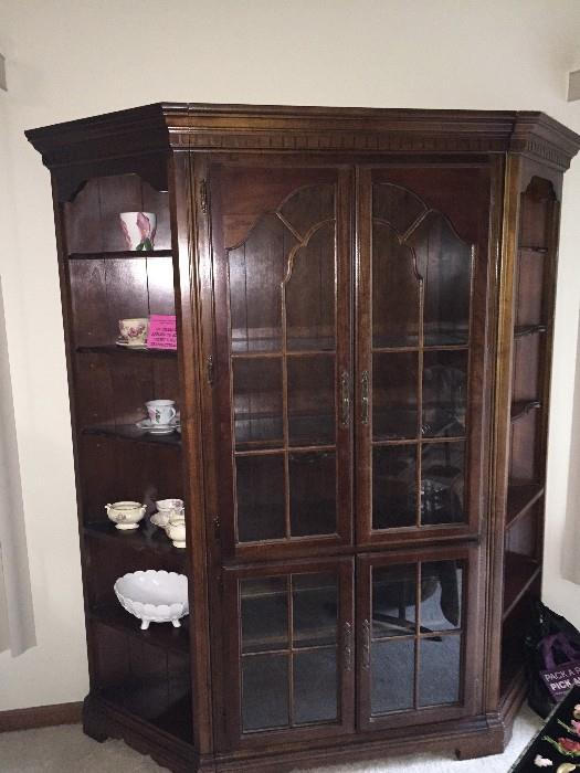 GREAT CONDITION CHERRY GROVE CHINA CABINET WITH OPEN SIDE SHELVING BY AMERICAN DREW