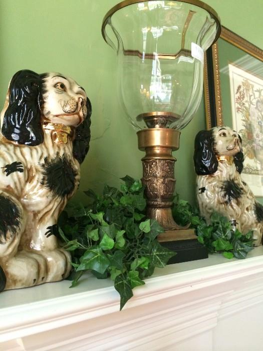 Staffordshire-style dogs; globe candle holder