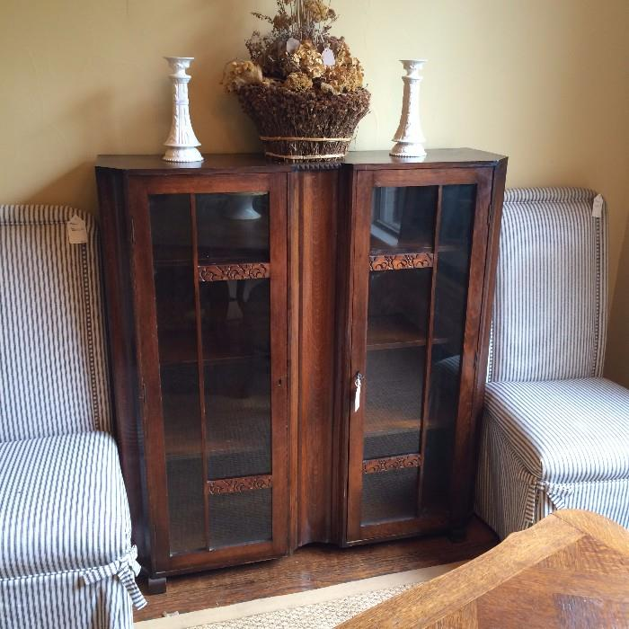 Antique cabinet; two parson's chairs in ticking