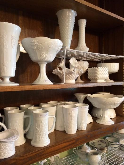 Large selection of milk glass