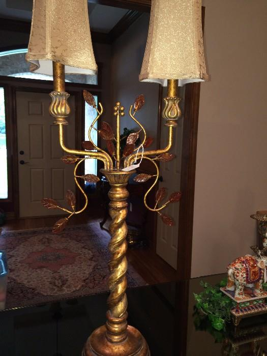 One of two barley twist gold, 2-light lamps