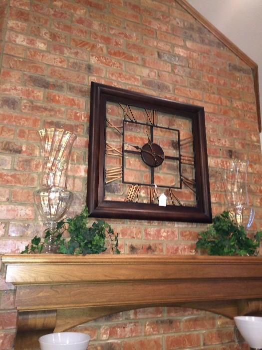 Square wall clock and decorative vases