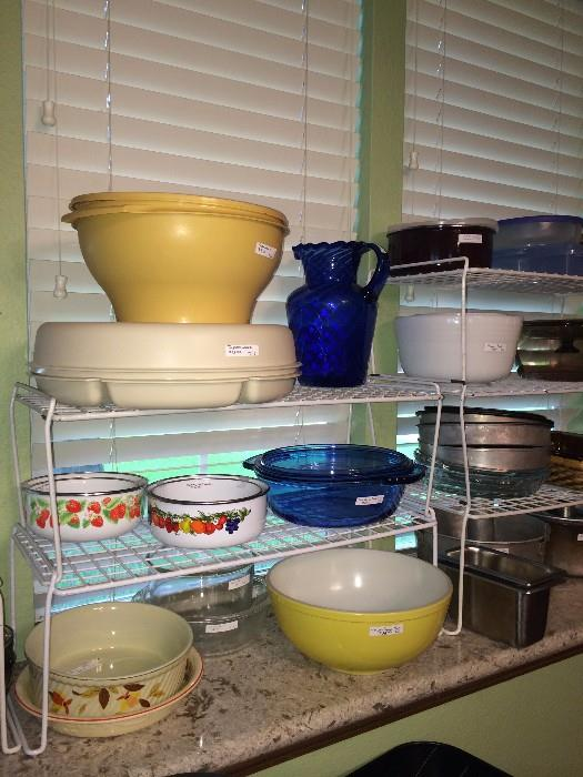 Hall bowl; yellow Pyrex bowl; lots of other bake ware