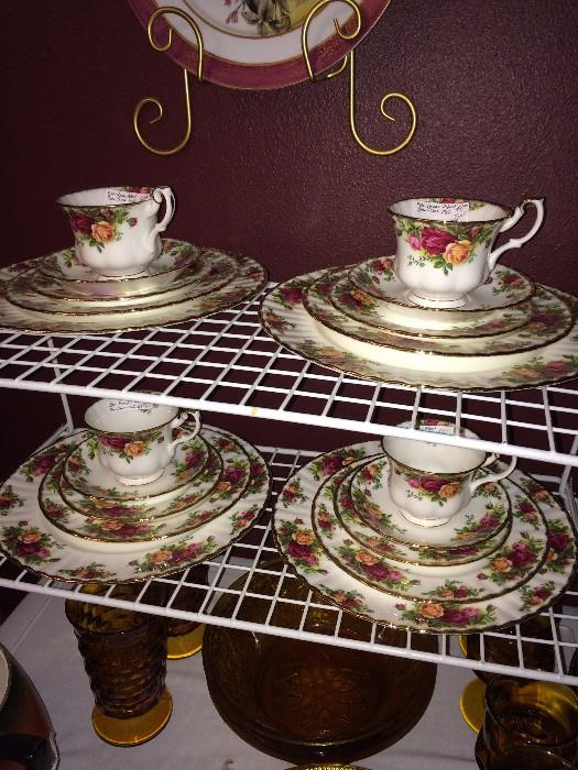 """Four place settings of Royal Albert """"Old Country Roses"""" china"""