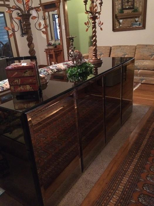 Mirrored credenza (as is)
