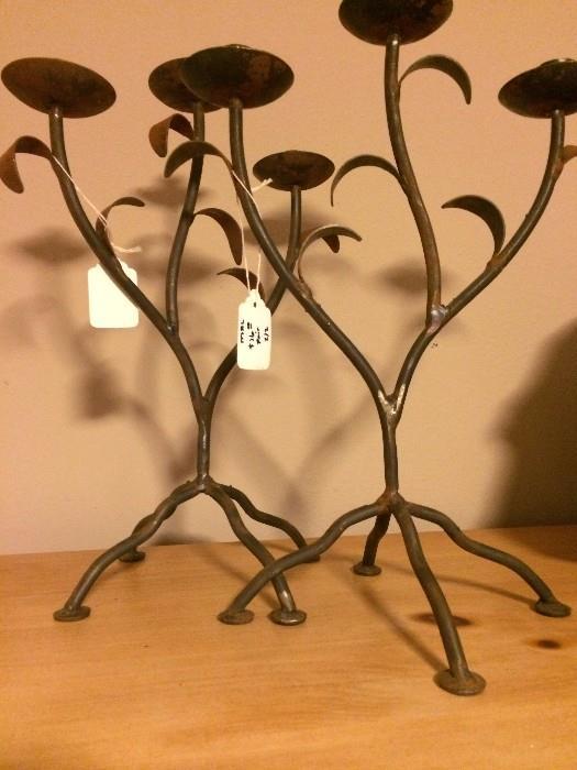 Pair of metal candle holders
