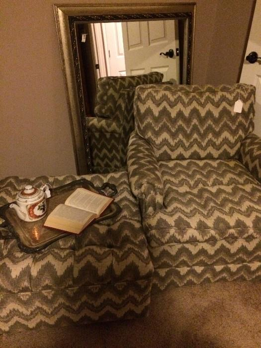 Club chair and matching ottoman; large mirror