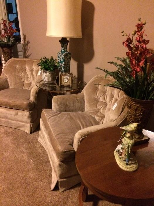 Two occasional chairs & one of two oval side tables