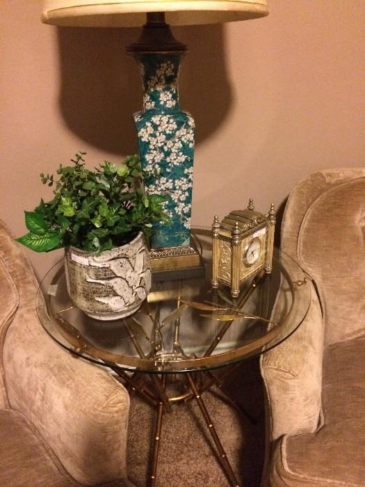Gold and glass top table; Asian style lamp