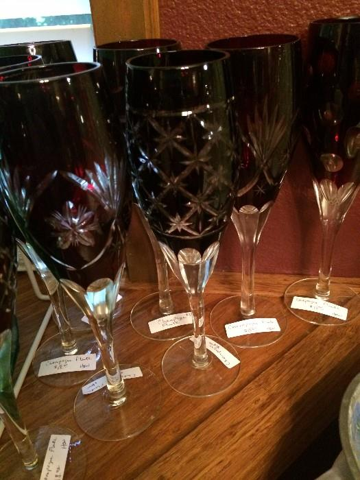 Dark red wine glasses