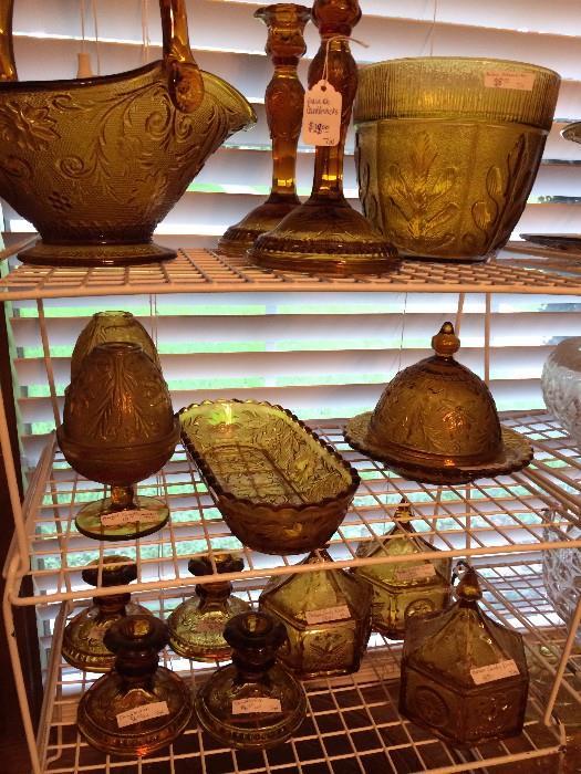 Assorted amber glassware