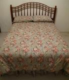 "Full size bed with Ralph Lauren ""Sinclair"" Bed Set: Comforter, Dust Ruffle, Sheet Set w/Pair Pillow Cases. Ethan Allen Solid Wood Turned Spindle Queen/Double Headboard with Frame Sealy Posturepedic  Mattress Set (Like New)"