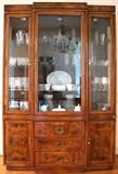 Hickory Mfg. Co. Triple China Cabinet in a fruit wood finish with 3 glass front doors over 3-Drawers flanked by a single door cabinet